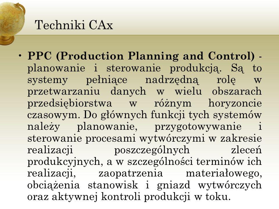 Techniki CAx PPC (Production Planning and Control) - planowanie i sterowanie produkcją. Są to systemy pełniące nadrzędną rolę w przetwarzaniu danych w