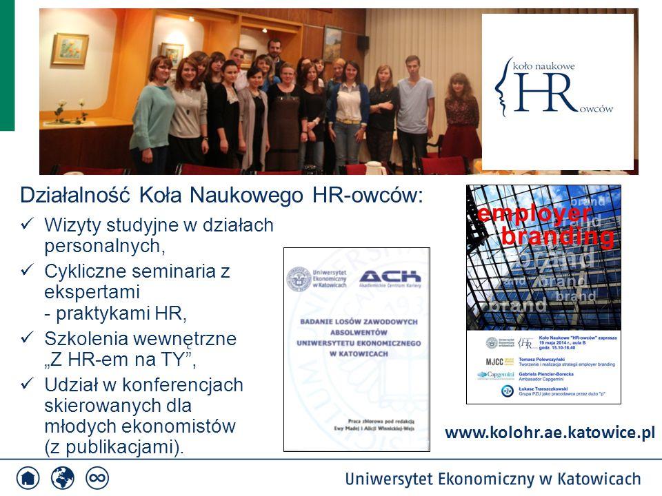 """Wizyty studyjne w działach personalnych, Cykliczne seminaria z ekspertami - praktykami HR, Szkolenia wewnętrzne """"Z HR-em na TY , Udział w konferencjach skierowanych dla młodych ekonomistów (z publikacjami)."""
