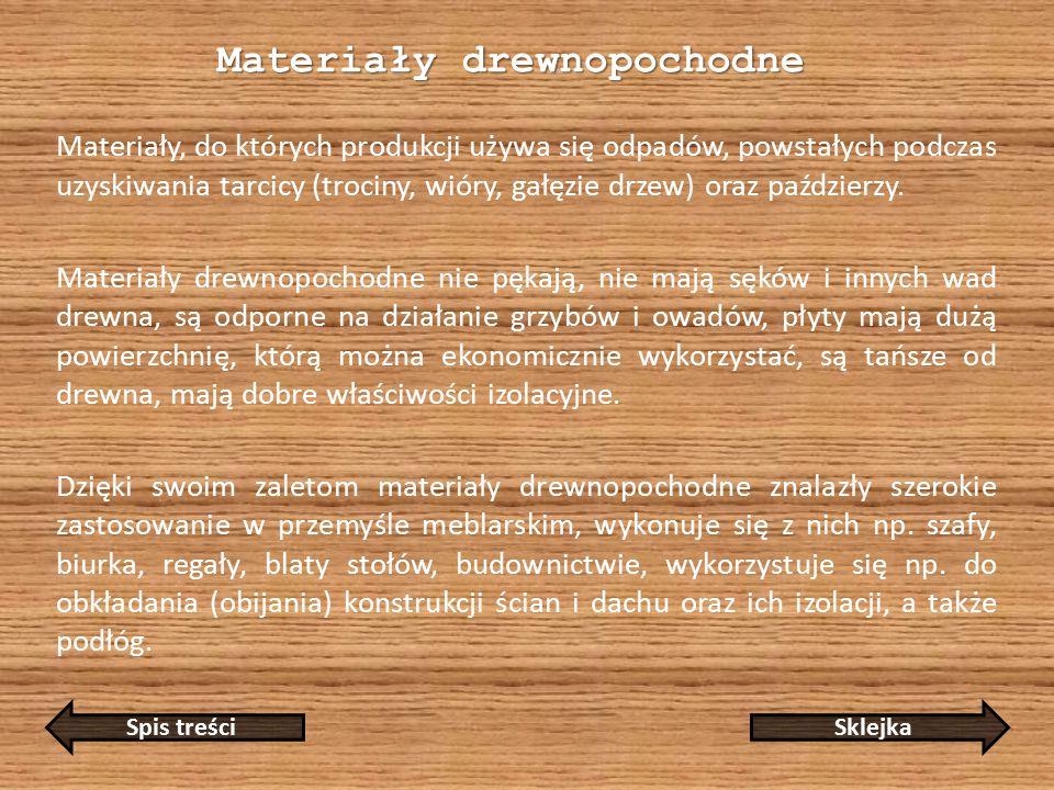 Materiały drewnopochodne Materiały, do których produkcji używa się odpadów, powstałych podczas uzyskiwania tarcicy (trociny, wióry, gałęzie drzew) oraz paździerzy.