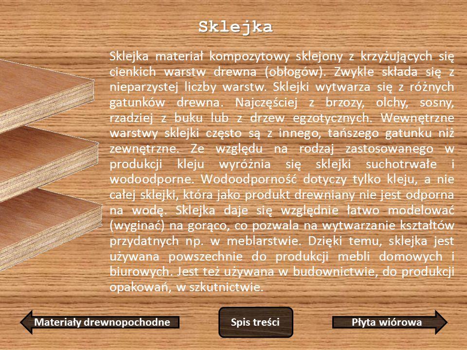 Sklejka Sklejka materiał kompozytowy sklejony z krzyżujących się cienkich warstw drewna (obłogów).
