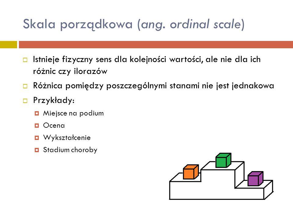  Brak fizycznej interpretacji dla kolejności tych wartości, różnic i ilorazów  Można je zakodować za pomocą liczb  Przykłady:  Umaszczenie  Płeć  PESEL  Miejsce urodzenia Skala nominalna (ang.