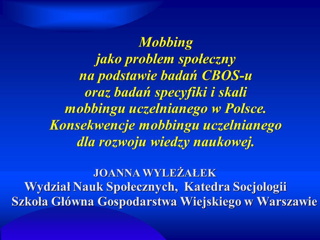 Mobbing jako problem społeczny na podstawie badań CBOS-u oraz badań specyfiki i skali mobbingu uczelnianego w Polsce. Konsekwencje mobbingu uczelniane