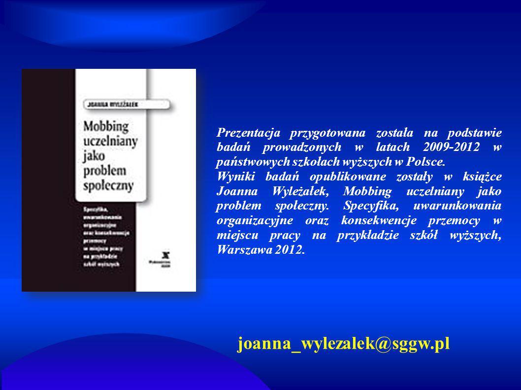 Prezentacja przygotowana została na podstawie badań prowadzonych w latach 2009-2012 w państwowych szkołach wyższych w Polsce. Wyniki badań opublikowan
