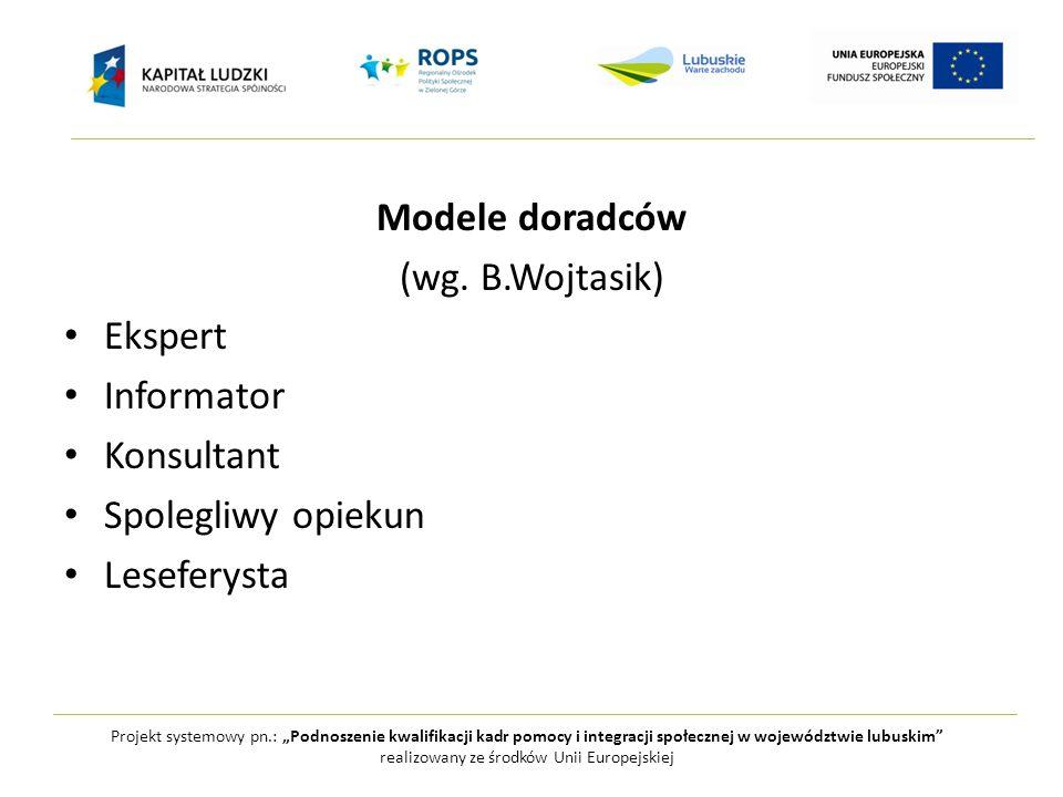"""Projekt systemowy pn.: """"Podnoszenie kwalifikacji kadr pomocy i integracji społecznej w województwie lubuskim realizowany ze środków Unii Europejskiej Modele doradców (wg."""