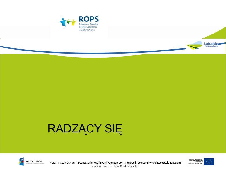 """RADZĄCY SIĘ Projekt systemowy pn.: """"Podnoszenie kwalifikacji kadr pomocy i integracji społecznej w województwie lubuskim realizowany ze środków Unii Europejskiej"""