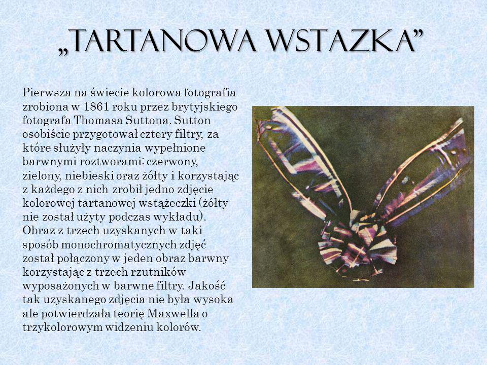 """,,Tartanowa wstAZka"""" Pierwsza na świecie kolorowa fotografia zrobiona w 1861 roku przez brytyjskiego fotografa Thomasa Suttona. Sutton osobiście przyg"""