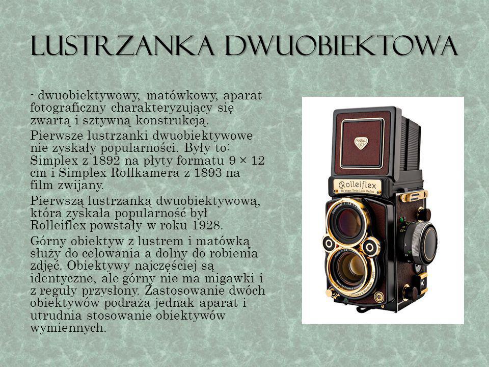 Lustrzanka jednoobiektowa Najczęściej używana w dzisiejszych czasach forma aparatu fotograficznego.