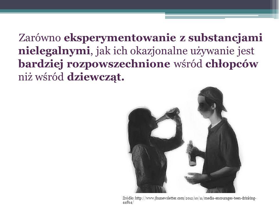 Zarówno eksperymentowanie z substancjami nielegalnymi, jak ich okazjonalne używanie jest bardziej rozpowszechnione wśród chłopców niż wśród dziewcząt.