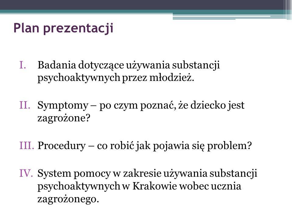 Plan prezentacji I.Badania dotyczące używania substancji psychoaktywnych przez młodzież. II.Symptomy – po czym poznać, że dziecko jest zagrożone? III.