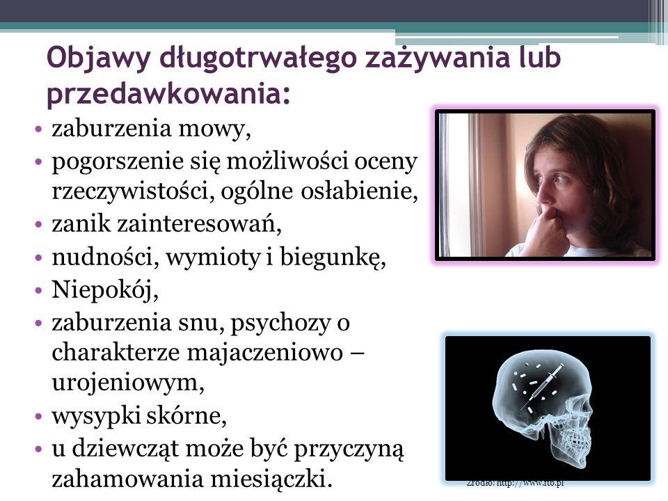 Objawy długotrwałego zażywania lub przedawkowania: zaburzenia mowy, pogorszenie się możliwości oceny rzeczywistości, ogólne osłabienie, zanik zaintere
