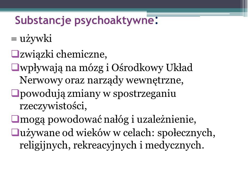 Substancje psychoaktywne : = używki  związki chemiczne,  wpływają na mózg i Ośrodkowy Układ Nerwowy oraz narządy wewnętrzne,  powodują zmiany w spo