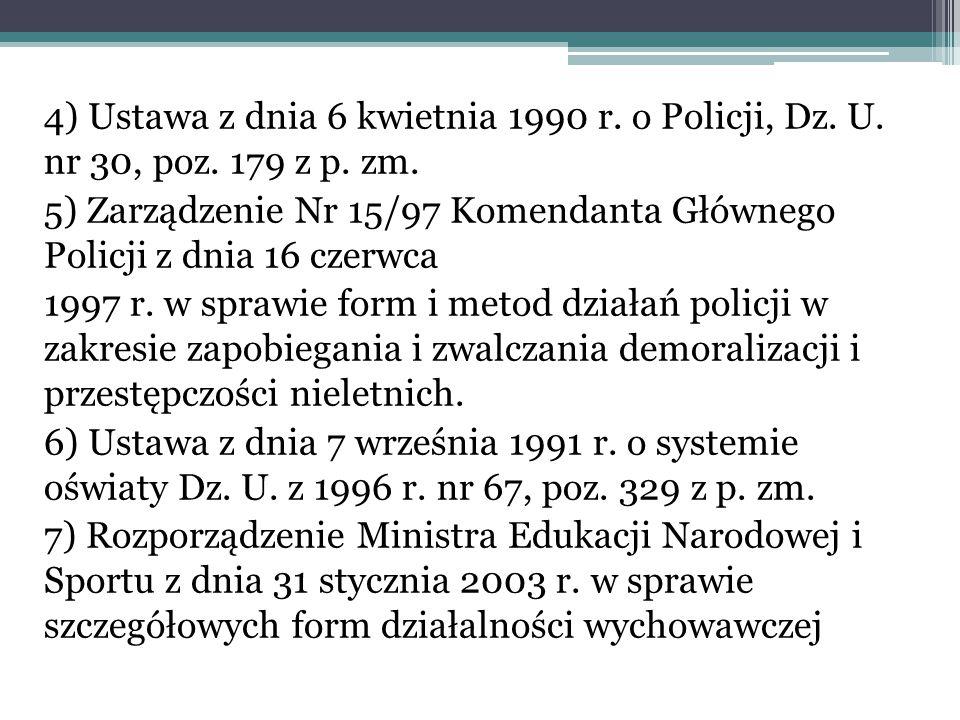 4) Ustawa z dnia 6 kwietnia 1990 r. o Policji, Dz. U. nr 30, poz. 179 z p. zm. 5) Zarządzenie Nr 15/97 Komendanta Głównego Policji z dnia 16 czerwca 1