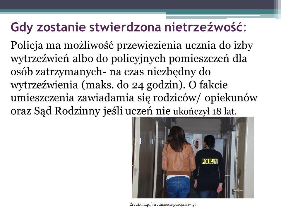 Gdy zostanie stwierdzona nietrzeźwość: Policja ma możliwość przewiezienia ucznia do izby wytrzeźwień albo do policyjnych pomieszczeń dla osób zatrzyma