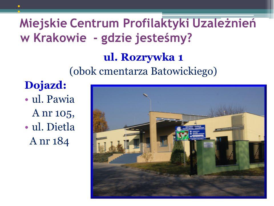 : Miejskie Centrum Profilaktyki Uzależnień w Krakowie - gdzie jesteśmy? ul. Rozrywka 1 (obok cmentarza Batowickiego) Dojazd: ul. Pawia A nr 105, ul. D