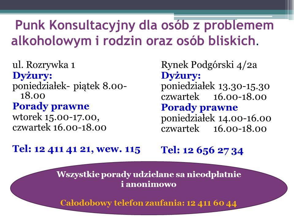 Punk Konsultacyjny dla osób z problemem alkoholowym i rodzin oraz osób bliskich. ul. Rozrywka 1 Dyżury: poniedziałek- piątek 8.00- 18.00 Porady prawne