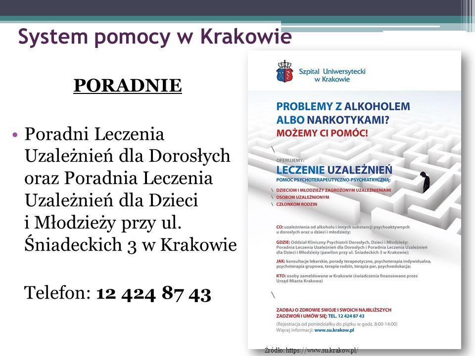 System pomocy w Krakowie PORADNIE Poradni Leczenia Uzależnień dla Dorosłych oraz Poradnia Leczenia Uzależnień dla Dzieci i Młodzieży przy ul. Śniadeck