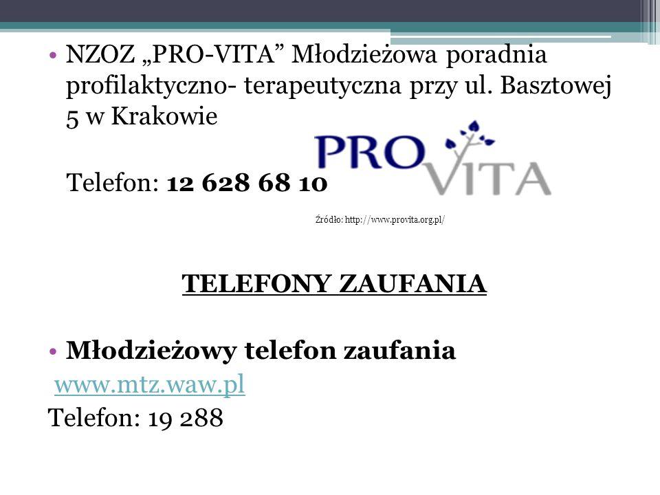 """NZOZ """"PRO-VITA"""" Młodzieżowa poradnia profilaktyczno- terapeutyczna przy ul. Basztowej 5 w Krakowie Telefon: 12 628 68 10 TELEFONY ZAUFANIA Młodzieżowy"""