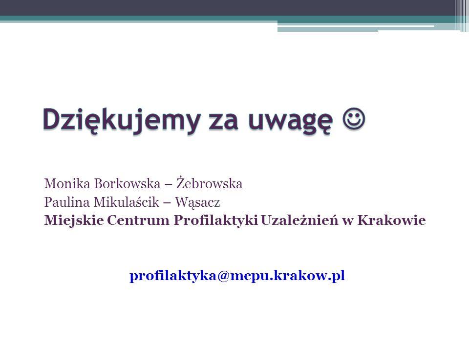 Monika Borkowska – Żebrowska Paulina Mikulaścik – Wąsacz Miejskie Centrum Profilaktyki Uzależnień w Krakowie profilaktyka@mcpu.krakow.pl