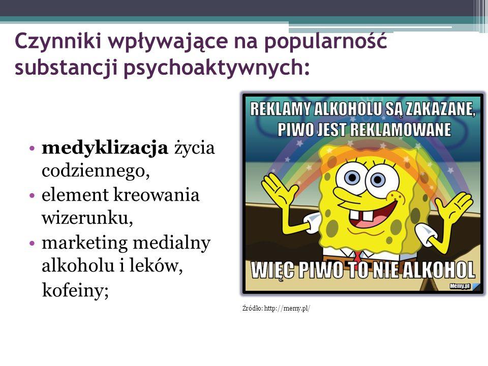 Czynniki wpływające na popularność substancji psychoaktywnych: medyklizacja życia codziennego, element kreowania wizerunku, marketing medialny alkohol
