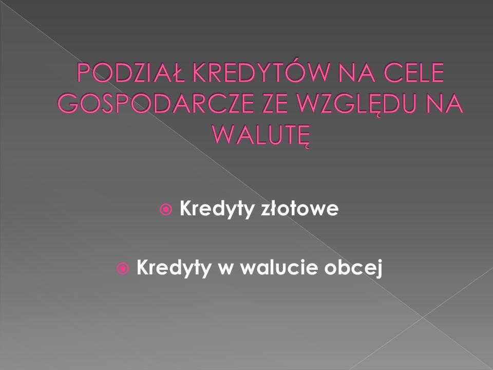  Kredyty złotowe  Kredyty w walucie obcej