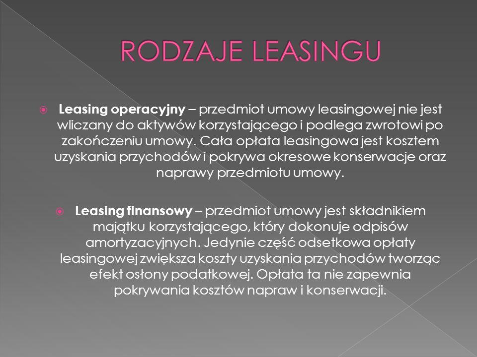  Leasing operacyjny – przedmiot umowy leasingowej nie jest wliczany do aktywów korzystającego i podlega zwrotowi po zakończeniu umowy. Cała opłata le