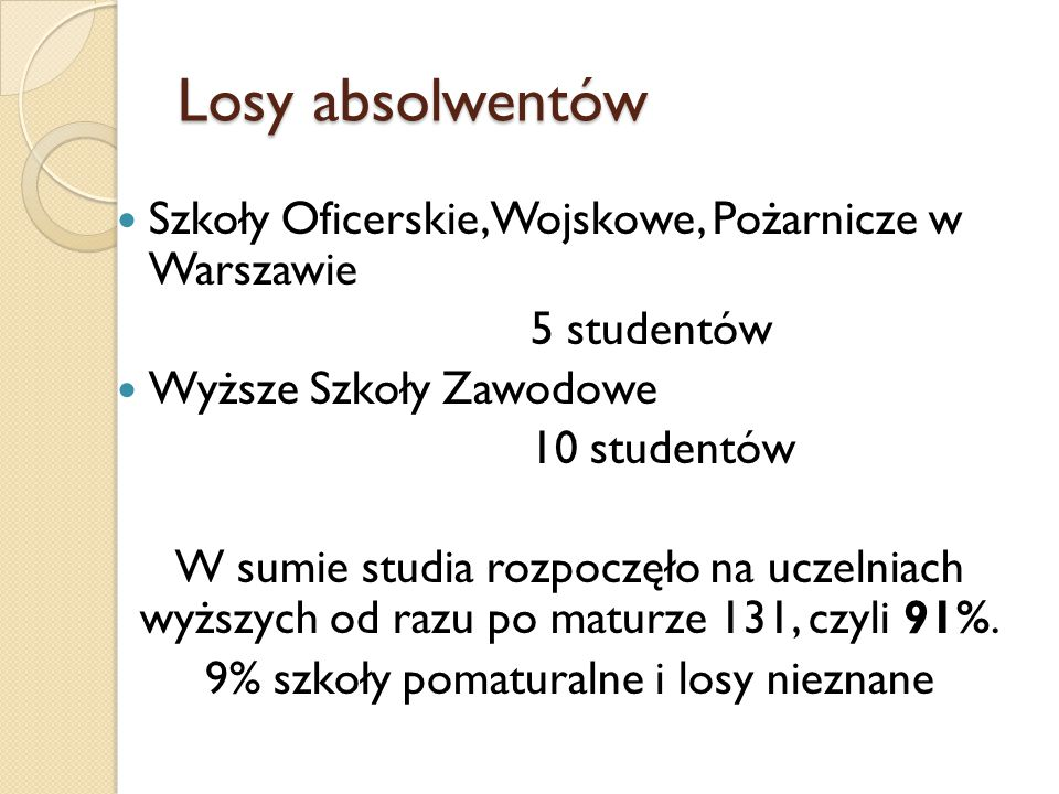 Losy absolwentów Szkoły Oficerskie, Wojskowe, Pożarnicze w Warszawie 5 studentów Wyższe Szkoły Zawodowe 10 studentów W sumie studia rozpoczęło na uczelniach wyższych od razu po maturze 131, czyli 91%.