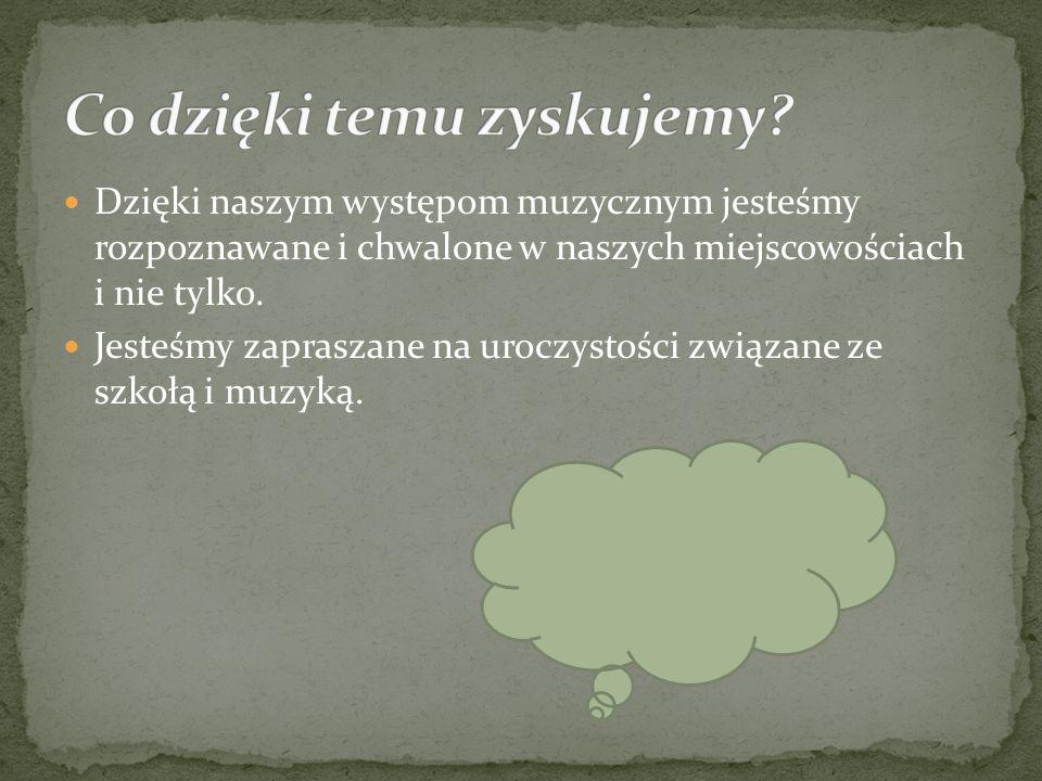 Chodzimy na zajęcia muzyczne do Gminnego Ośrodka Kultury i Sportu w Siekierczynie. Naszym nauczycielem jest pan Zdzisław Trendewicz. Staramy się uczes