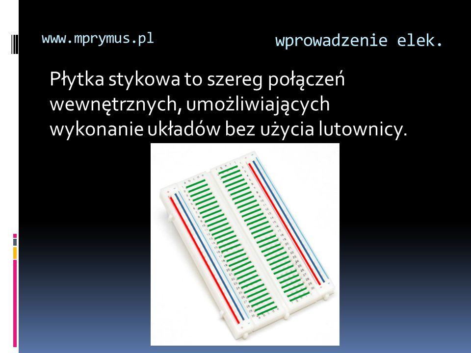 wprowadzenie elek. www.mprymus.pl Płytka stykowa to szereg połączeń wewnętrznych, umożliwiających wykonanie układów bez użycia lutownicy.