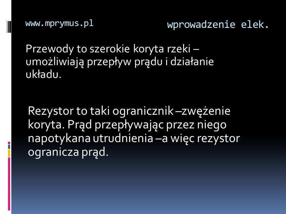 wprowadzenie elek. www.mprymus.pl Przewody to szerokie koryta rzeki – umożliwiają przepływ prądu i działanie układu. Rezystor to taki ogranicznik –zwę