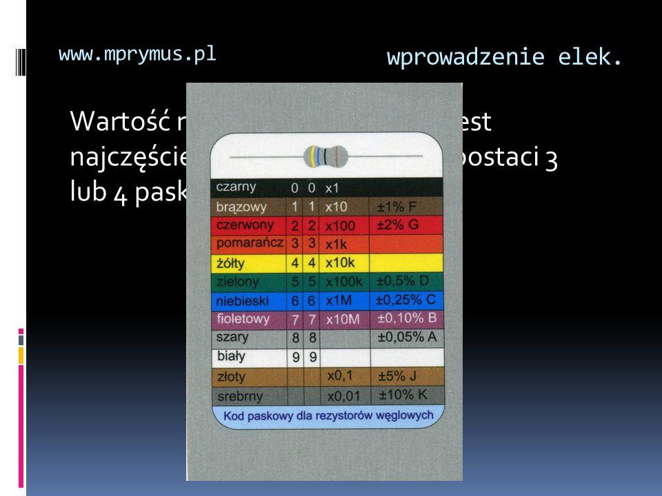 wprowadzenie elek. www.mprymus.pl Wartość rezystancji oznaczona jest najczęściej barwnym kodem, w postaci 3 lub 4 pasków.