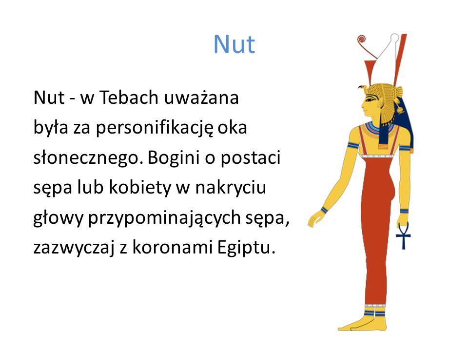 Nut Nut - w Tebach uważana była za personifikację oka słonecznego. Bogini o postaci sępa lub kobiety w nakryciu głowy przypominających sępa, zazwyczaj