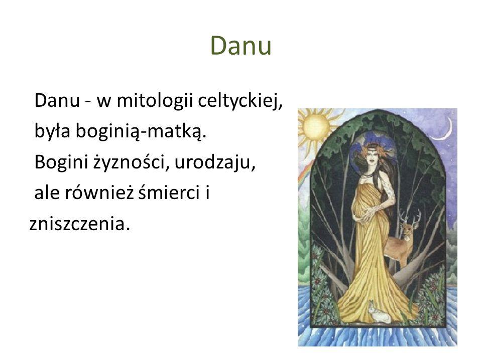 Danu Danu - w mitologii celtyckiej, była boginią-matką. Bogini żyzności, urodzaju, ale również śmierci i zniszczenia.