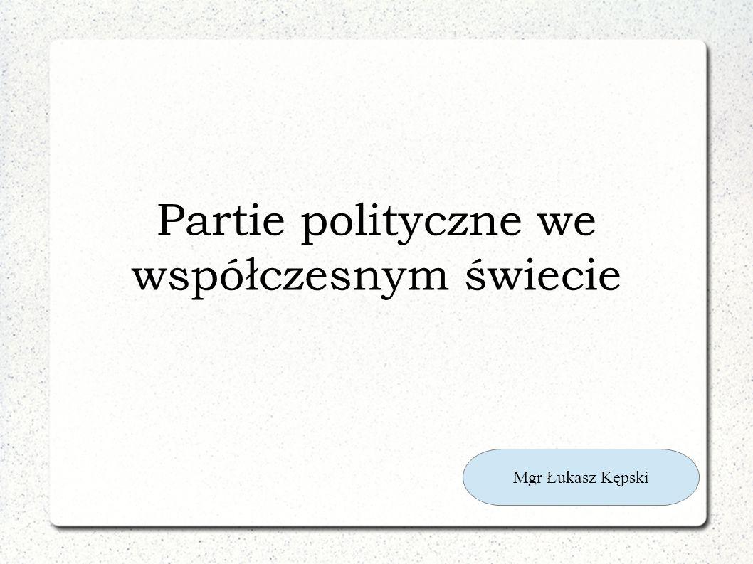 Partie polityczne we współczesnym świecie Mgr Łukasz Kępski