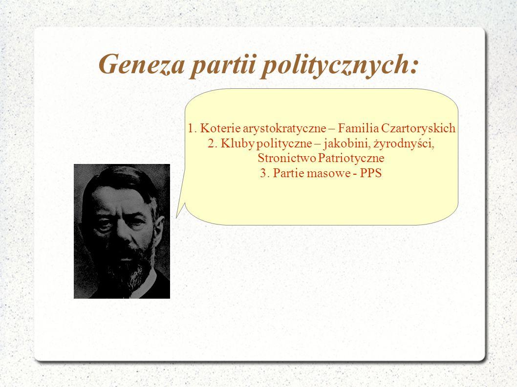 Geneza partii politycznych: 1. Koterie arystokratyczne – Familia Czartoryskich 2. Kluby polityczne – jakobini, żyrodnyści, Stronictwo Patriotyczne 3.