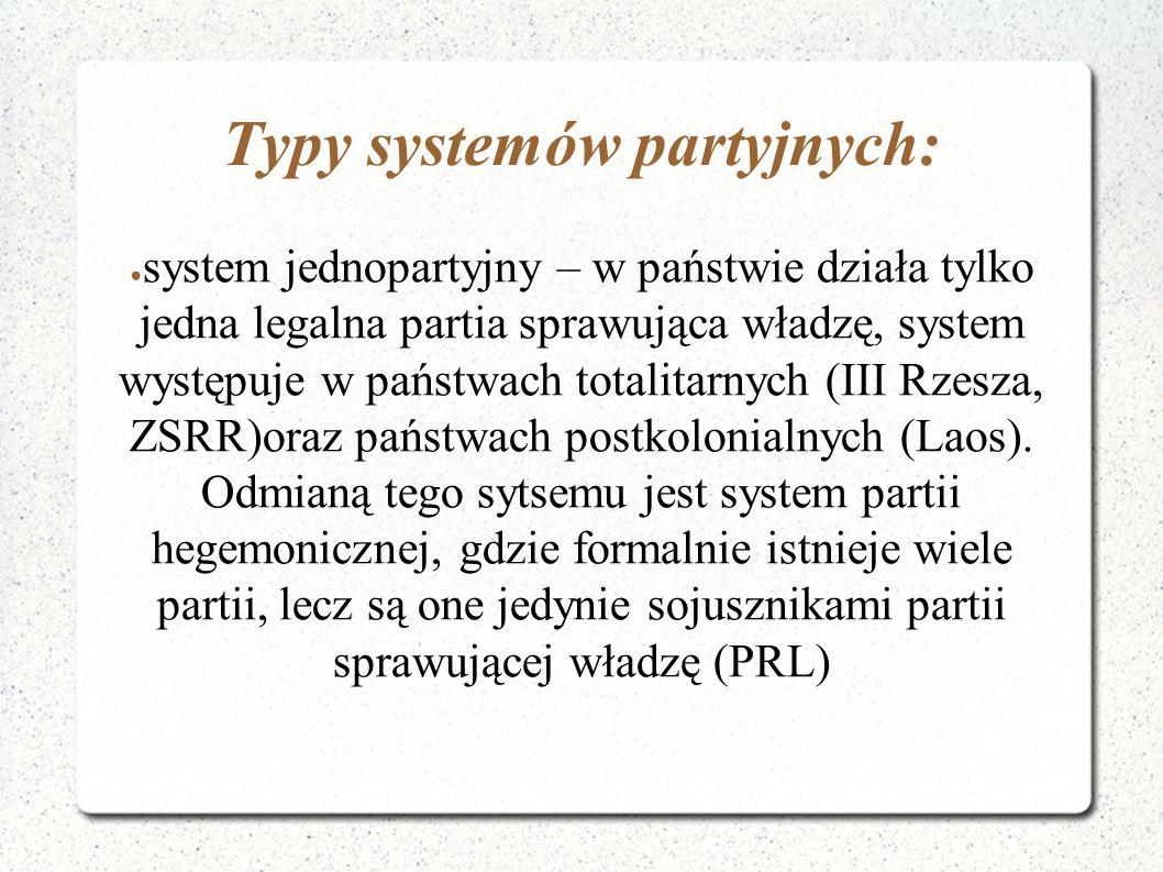 Typy systemów partyjnych: ● system jednopartyjny – w państwie działa tylko jedna legalna partia sprawująca władzę, system występuje w państwach totali