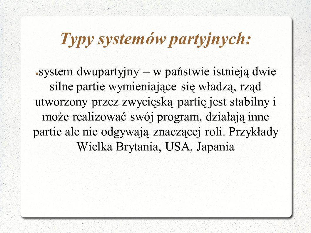 Typy systemów partyjnych: ● system dwupartyjny – w państwie istnieją dwie silne partie wymieniające się władzą, rząd utworzony przez zwycięską partię