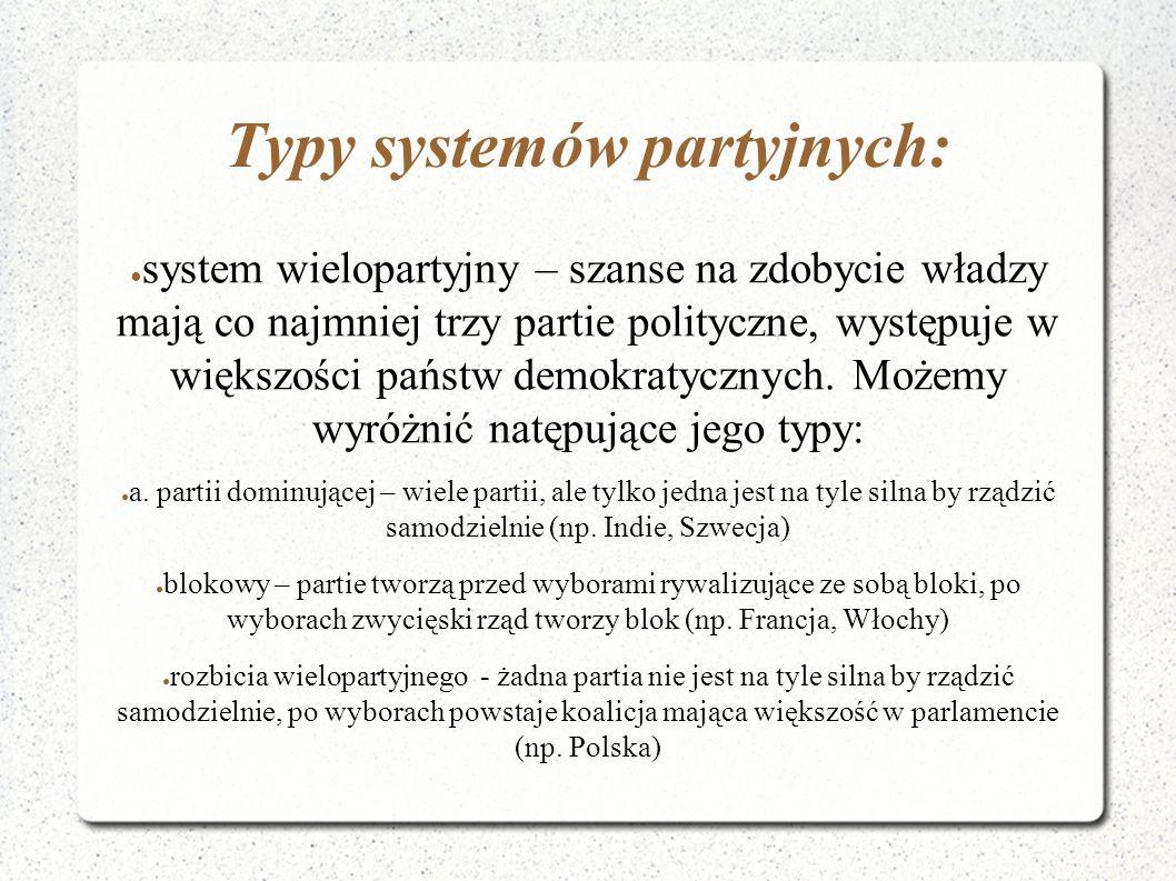 Typy systemów partyjnych: ● system wielopartyjny – szanse na zdobycie władzy mają co najmniej trzy partie polityczne, występuje w większości państw de