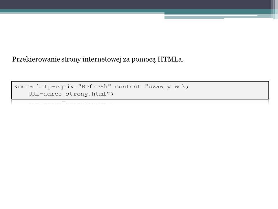 Przekierowanie strony internetowej za pomocą HTMLa.