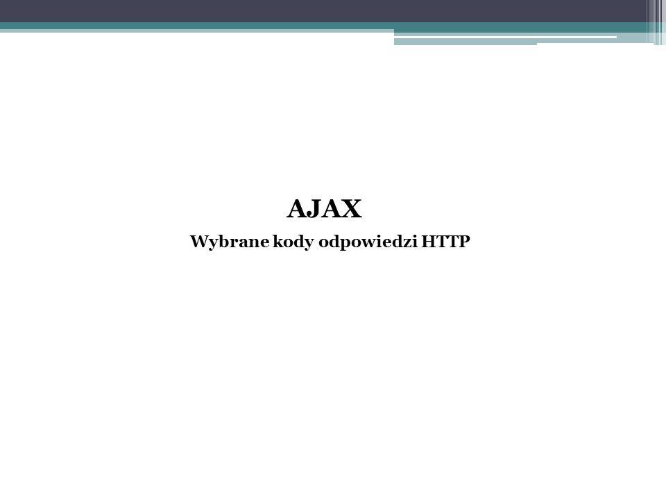 AJAX Wybrane kody odpowiedzi HTTP