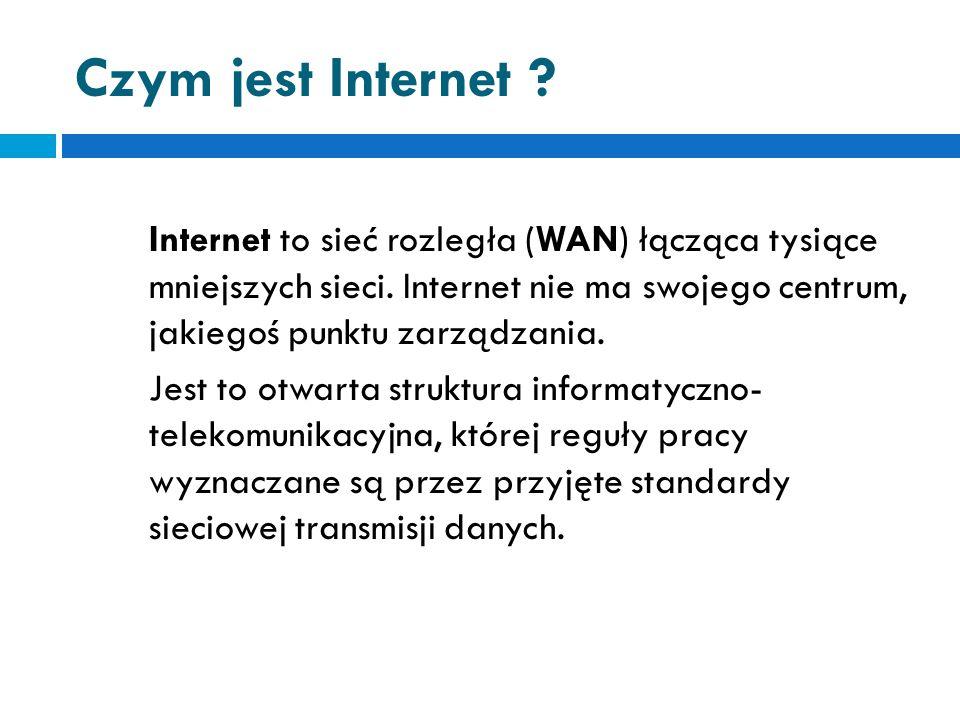 Czym jest Internet .Internet to sieć rozległa (WAN) łącząca tysiące mniejszych sieci.