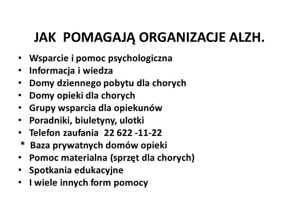 JAK POMAGAJĄ ORGANIZACJE ALZH. Wsparcie i pomoc psychologiczna Informacja i wiedza Domy dziennego pobytu dla chorych Domy opieki dla chorych Grupy wsp