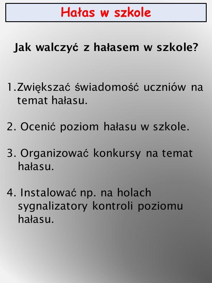 Hałas w szkole Jak walczy ć z ha ł asem w szkole.