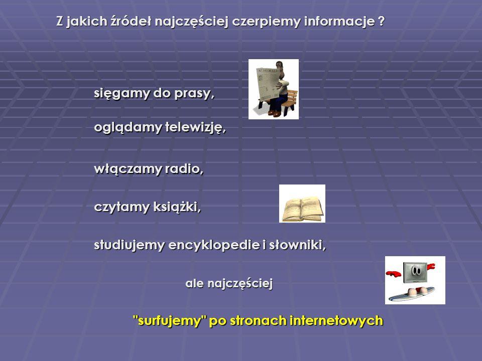 Do poszukiwania informacji służą … Onet Infoseek Onet Infoseek Alta Vista WP - Netsprint Netsprint Szukacz Yandex katalogi internetowe (directories) wyszukiwarki AOL Search Lycos MSN.com Open Directory Snap.com Yahoo Interia
