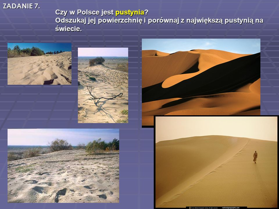 Czy w Polsce jest pustynia? Czy w Polsce jest pustynia? Odszukaj jej powierzchnię i porównaj z największą pustynią na Odszukaj jej powierzchnię i poró