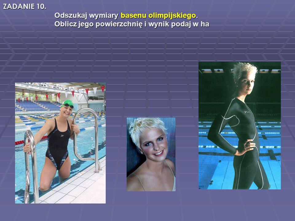 Odszukaj wymiary basenu olimpijskiego. Odszukaj wymiary basenu olimpijskiego.