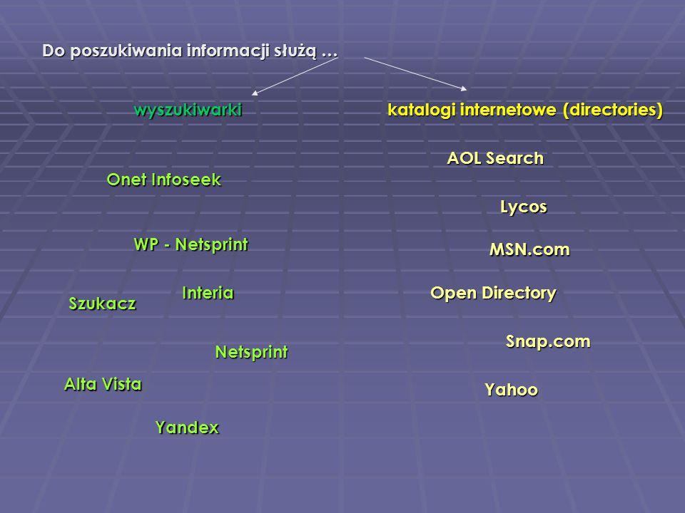 Do poszukiwania informacji służą … Onet Infoseek Onet Infoseek Alta Vista WP - Netsprint Netsprint Szukacz Yandex katalogi internetowe (directories) w