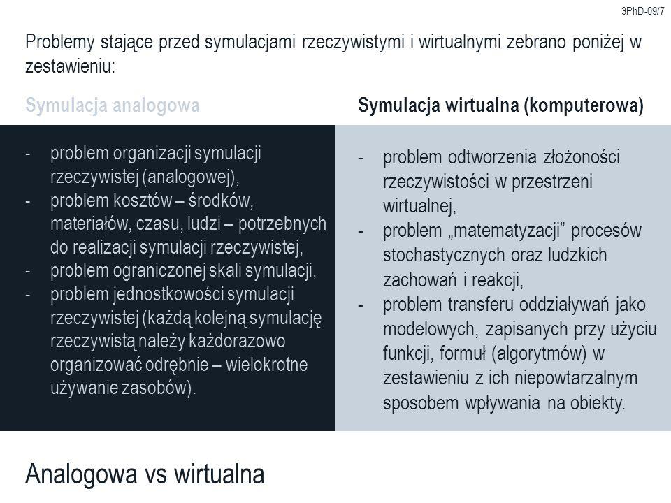 3PhD-09/7 Analogowa vs wirtualna Problemy stające przed symulacjami rzeczywistymi i wirtualnymi zebrano poniżej w zestawieniu: Symulacja analogowaSymu