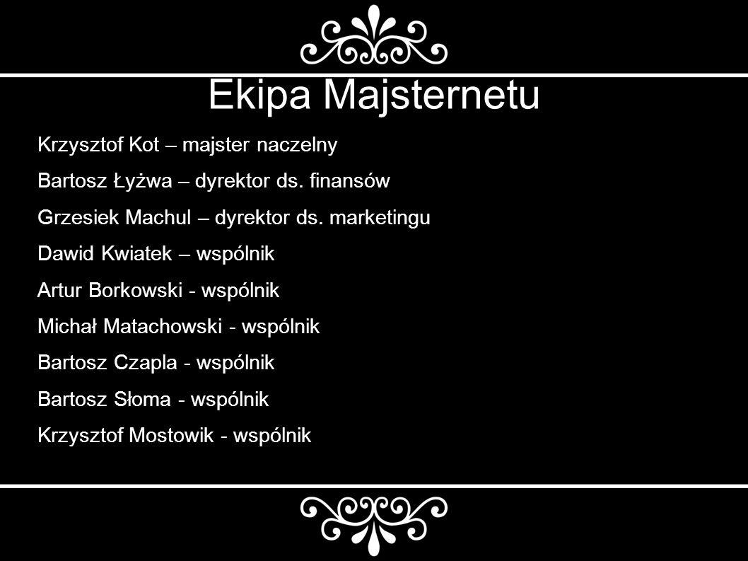 Ekipa Majsternetu Krzysztof Kot – majster naczelny Bartosz Łyżwa – dyrektor ds.