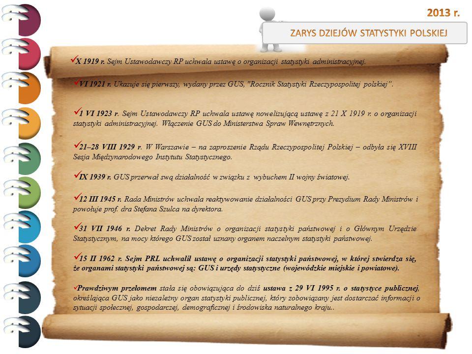 X 1919 r. Sejm Ustawodawczy RP uchwala ustawę o organizacji statystyki administracyjnej. VI 1921 r. Ukazuje się pierwszy, wydany przez GUS,