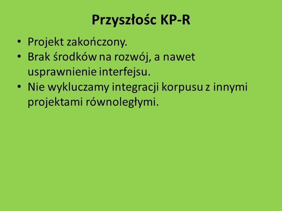 Przyszłośc KP-R Projekt zakończony.Brak środków na rozwój, a nawet usprawnienie interfejsu.